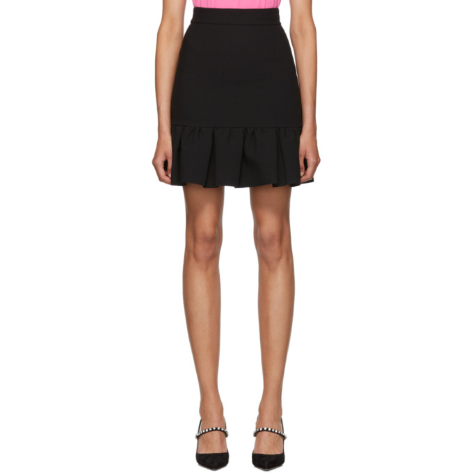 Black Cady Ruffle Miniskirt by Msgm