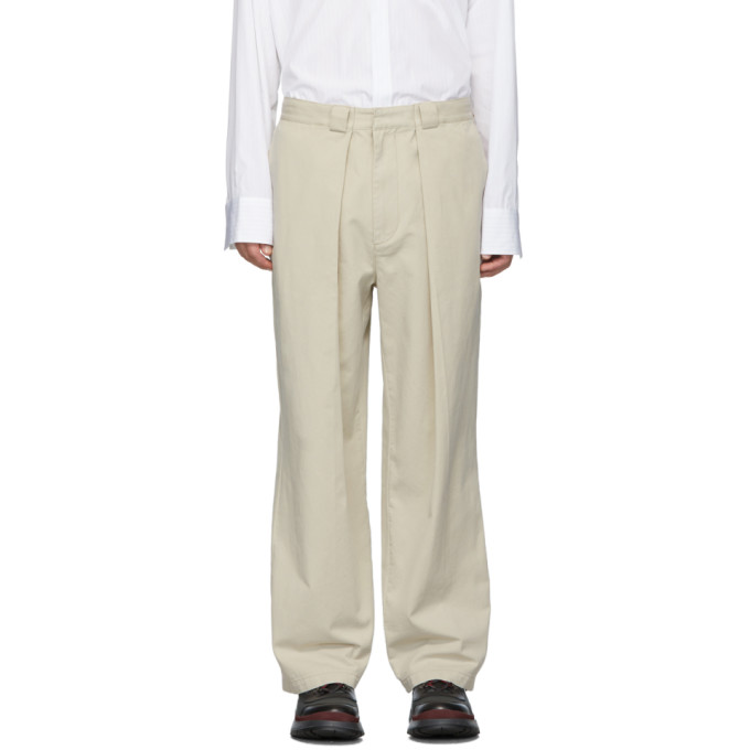 Beige Pleats Chinos by Jw Anderson