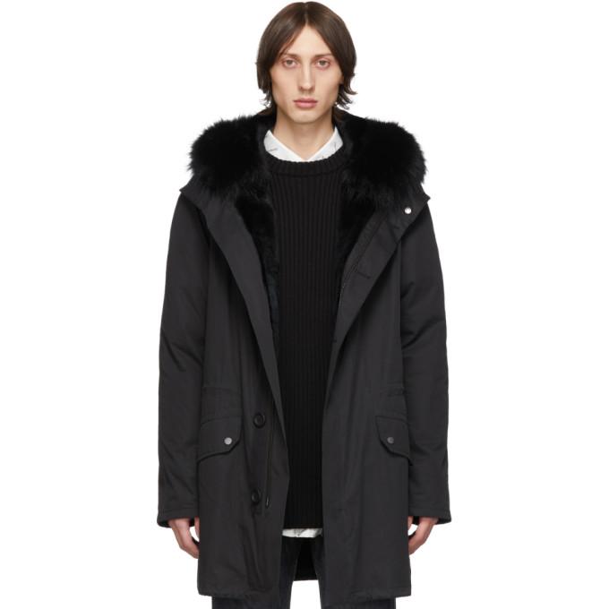 Black Down & Fur Bachette Coat by Yves Salomon   Army