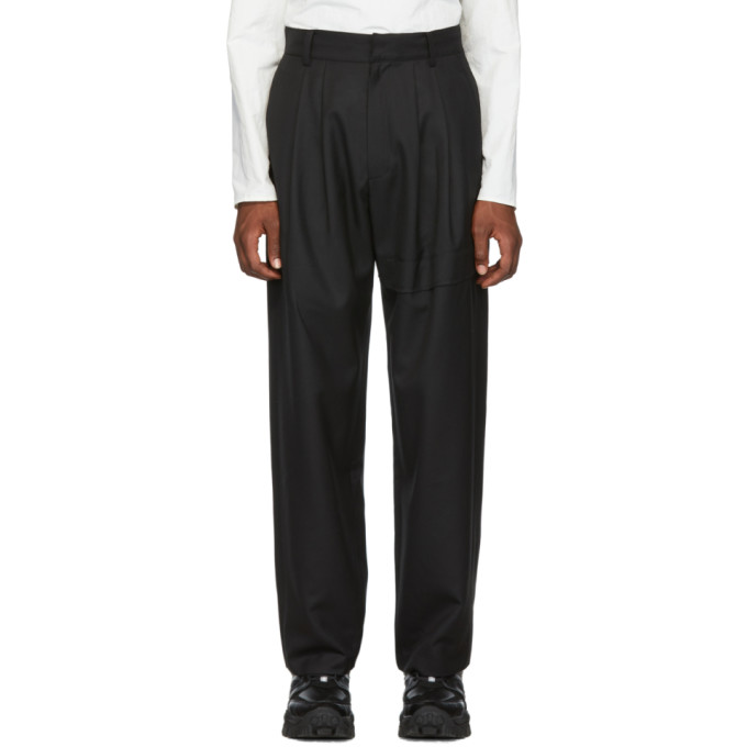 Black Wool Wide Leg Trousers by D.Gnak By Kang.D
