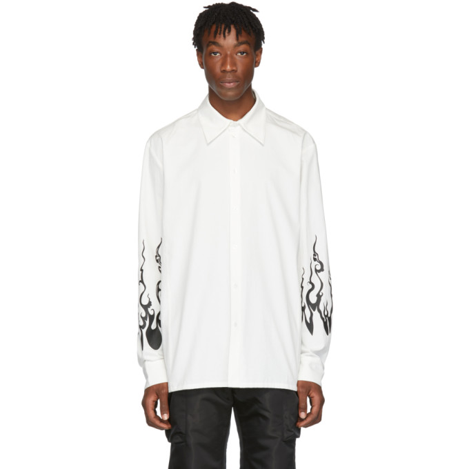 White Flame Printed Shirt by D.Gnak By Kang.D