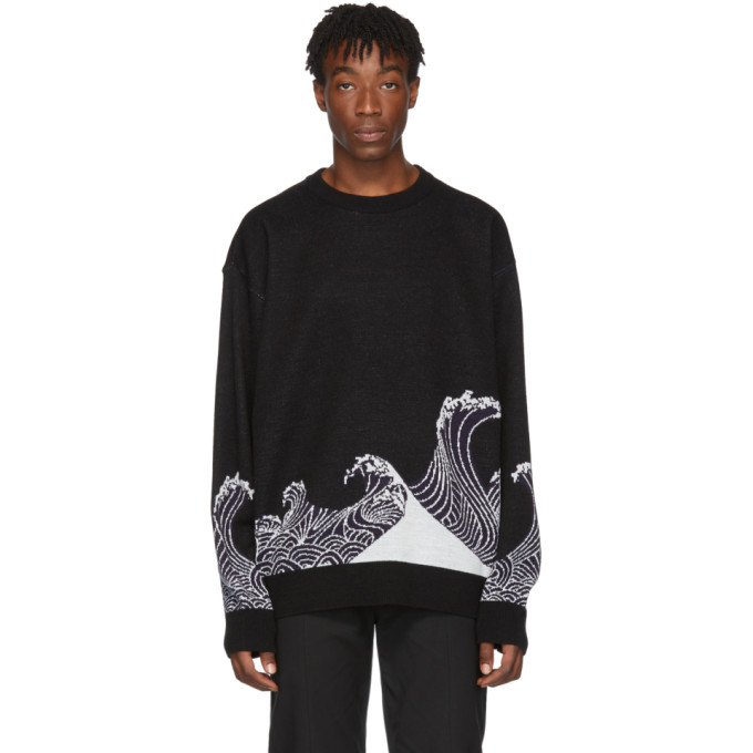 Black Jacquard Wave Sweater by D.Gnak By Kang.D