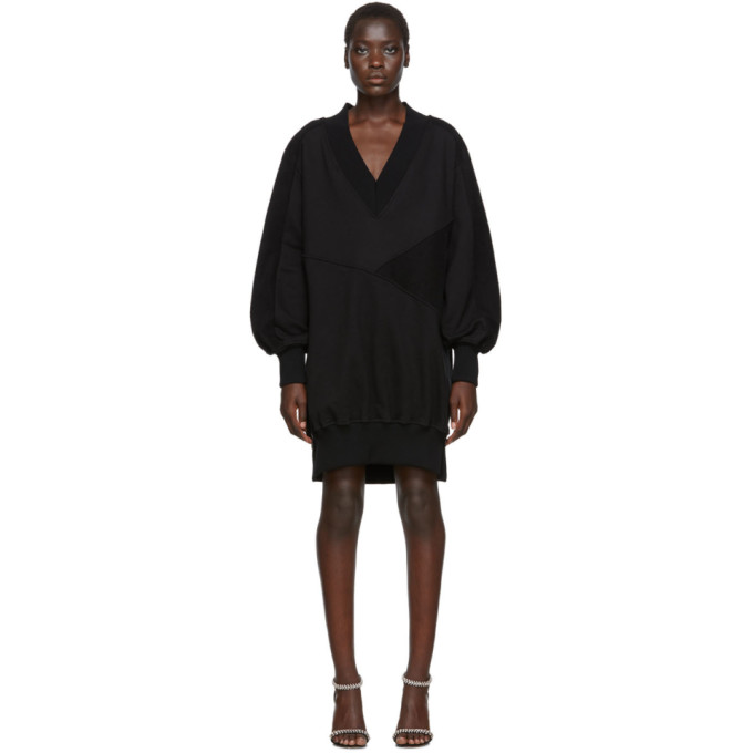 Black Intarsia Side Zip Sweatshirt Dress by Off White
