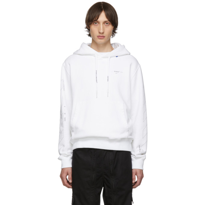 White & Silver Diag Unfinished Slim Hoodie by Off White