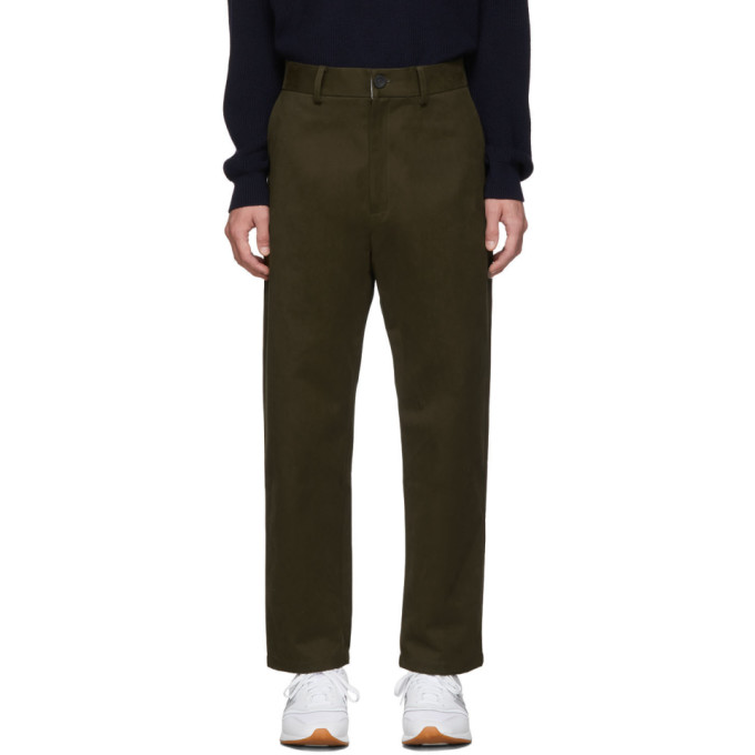 Khaki Tapered Flat Front Trousers by Studio Nicholson