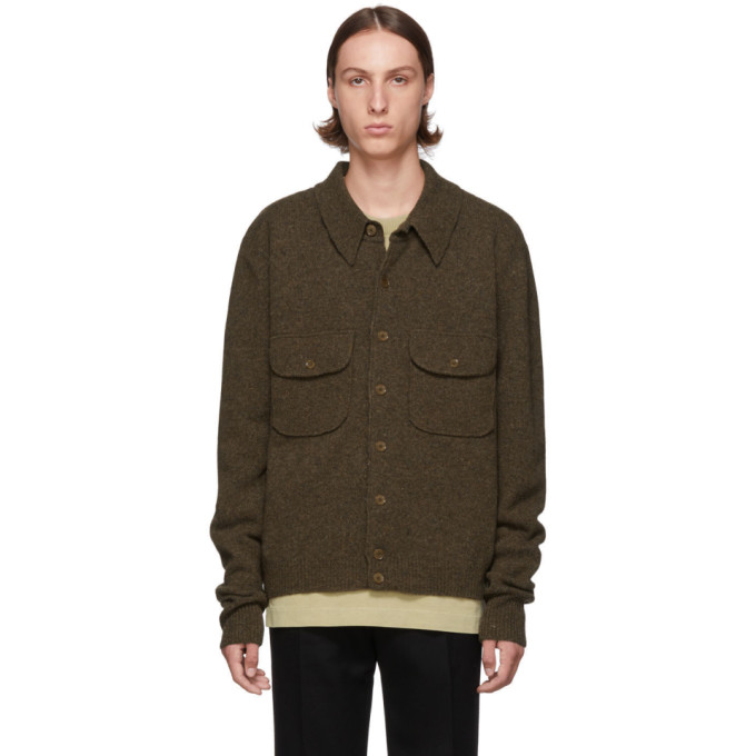Brown Knitted Military Shirt Jacket by Lemaire