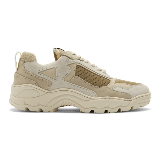 White & Beige Low Curve Iceman Sneakers by Filling Pieces