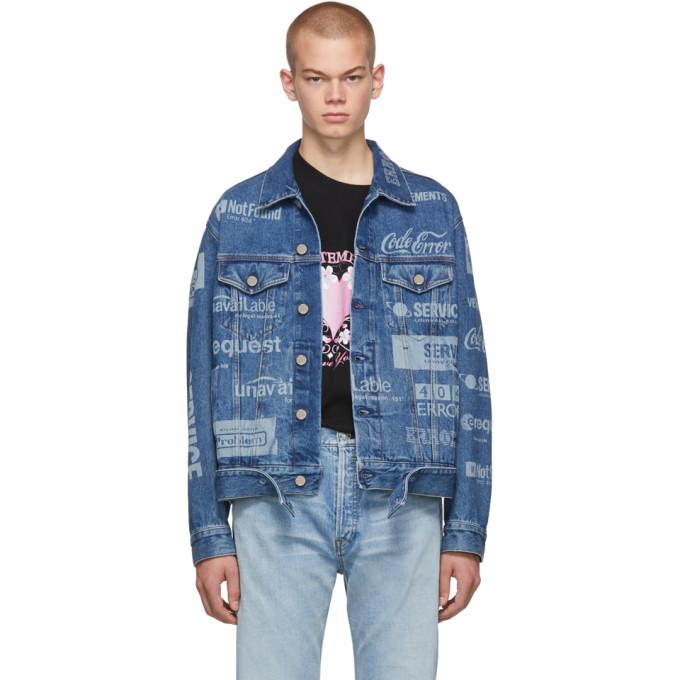 Blue Fully Branded Denim Jacket by Vetements