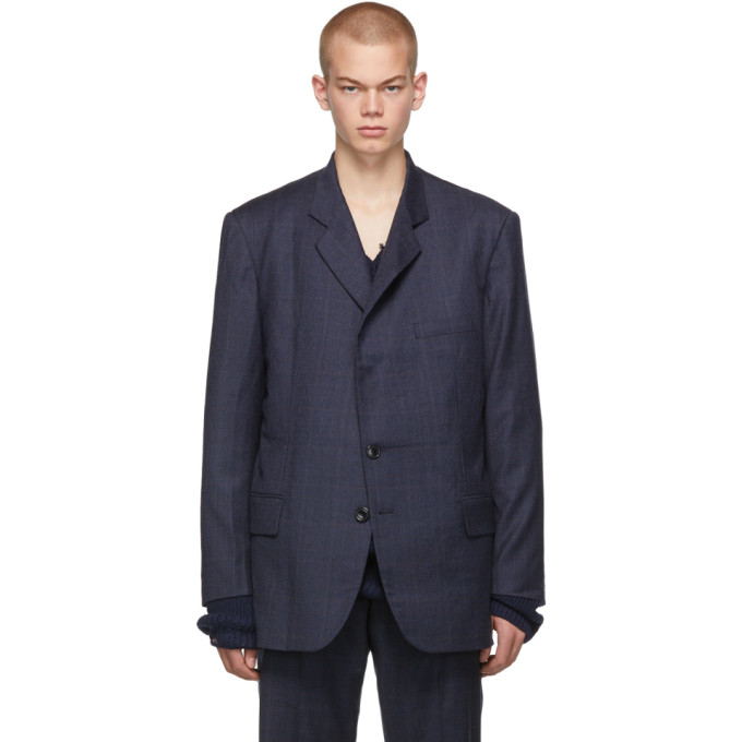 Navy Cut Out Blazer by Vetements