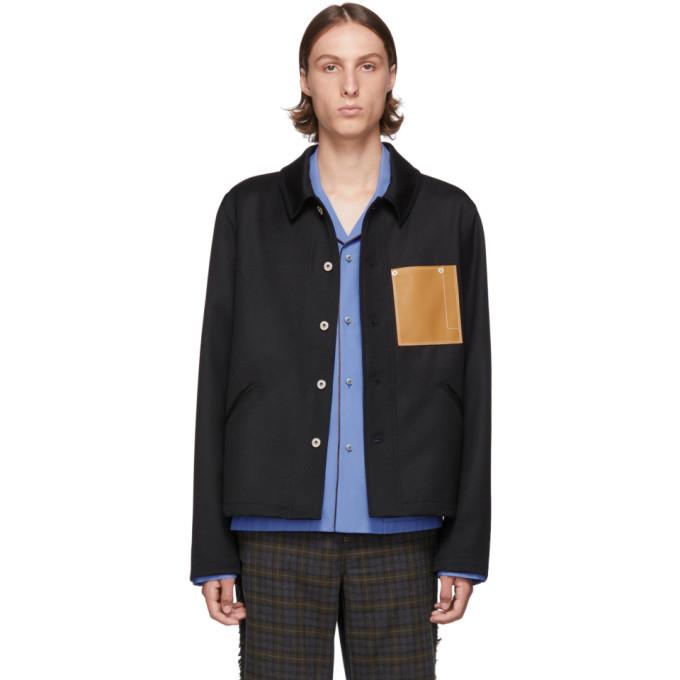 Black Wool Button Jacket by Loewe