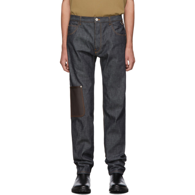 Blue Leather Patch Pocket Jeans by Loewe