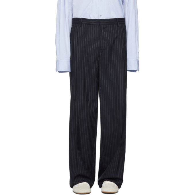 Navy Striped Pleated Trousers by Loewe