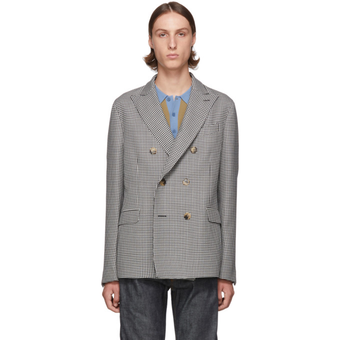 Black & White Houndstooth Double Breasted Blazer by Loewe