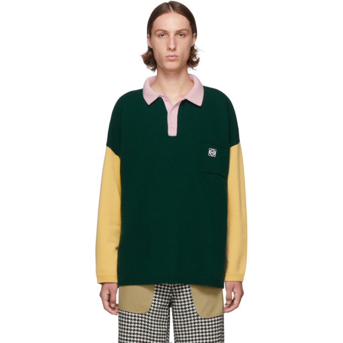 Green & Pink Poloneck Sweater by Loewe