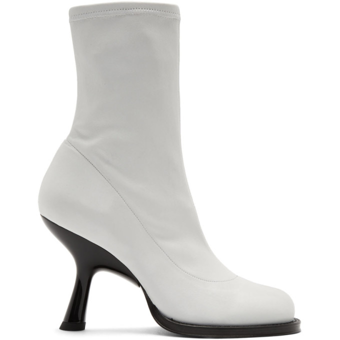 White Stretch Boots Tee Heel Boots by Simon Miller