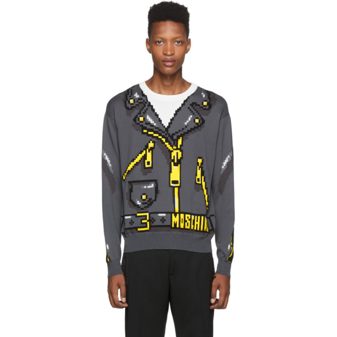 Grey The Sims Edition Pixel Sweater by Moschino