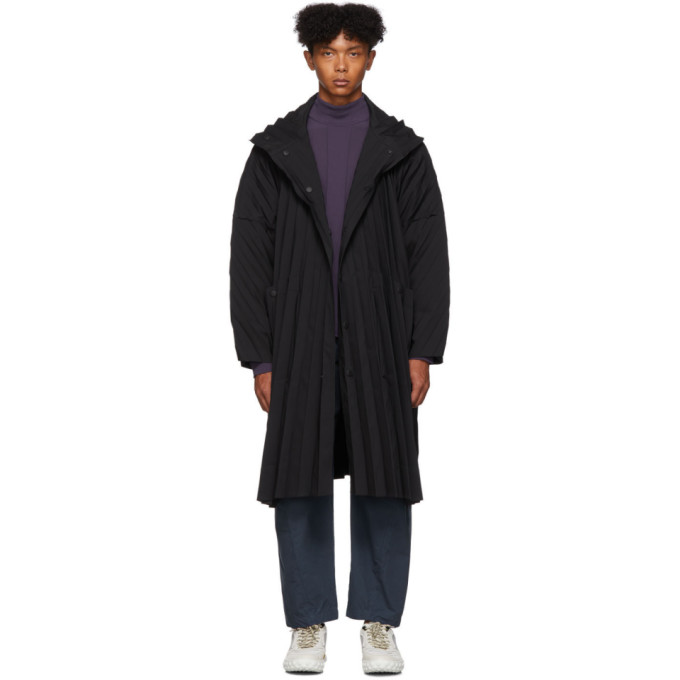 Black Pleated Coat by Homme PlissÉ Issey Miyake