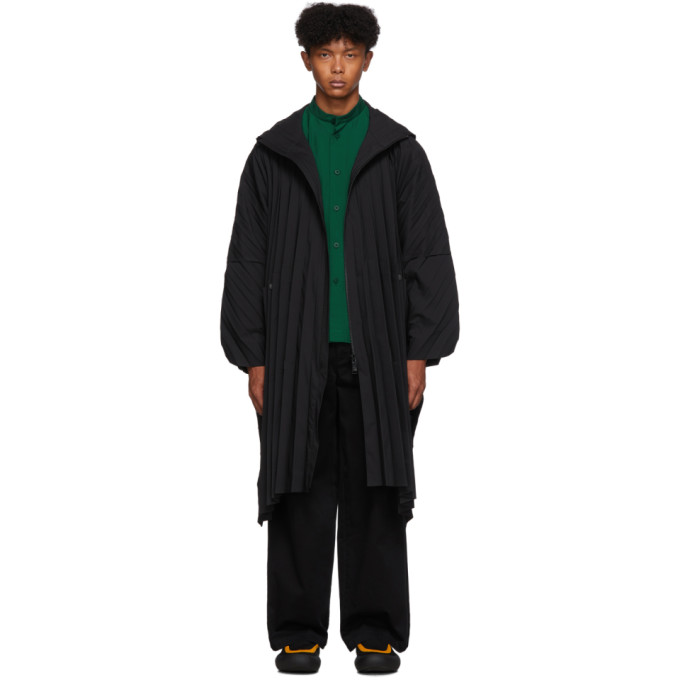 Black Pleated Zip Up Coat by Homme PlissÉ Issey Miyake