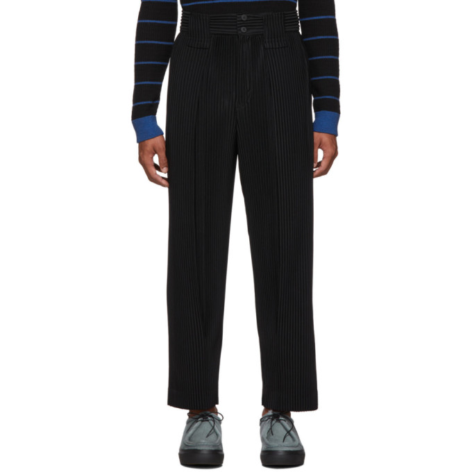 Black Large Pleat Trousers by Homme PlissÉ Issey Miyake
