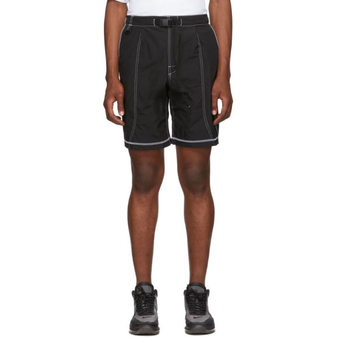 Black High Shrunk Nylon Mountain Shorts by John Elliott