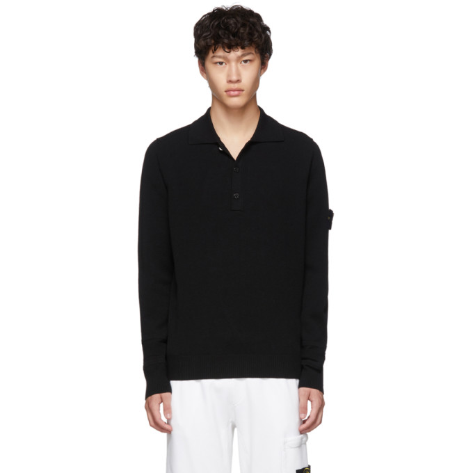 Black Knit Long Sleeve Polo by Stone Island