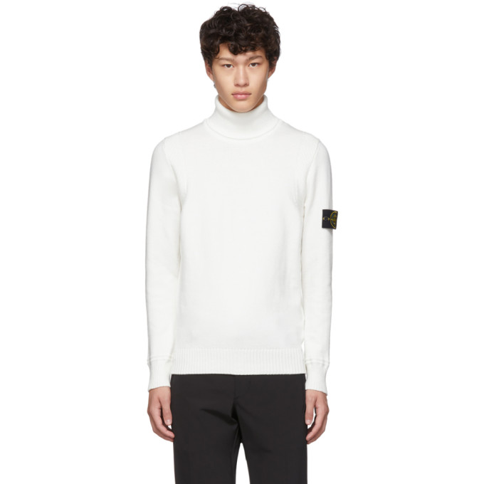 Off White Knit Turtleneck by Stone Island