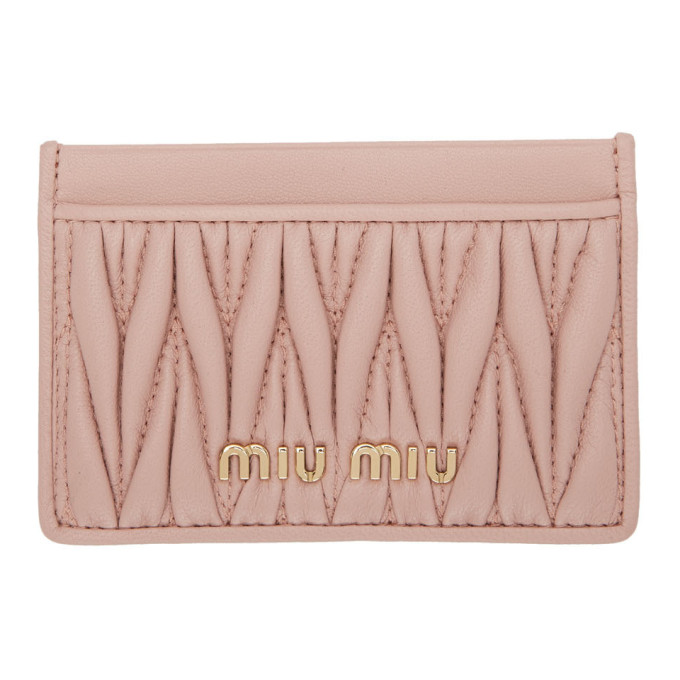 Pink Quilted Card Holder by Miu Miu