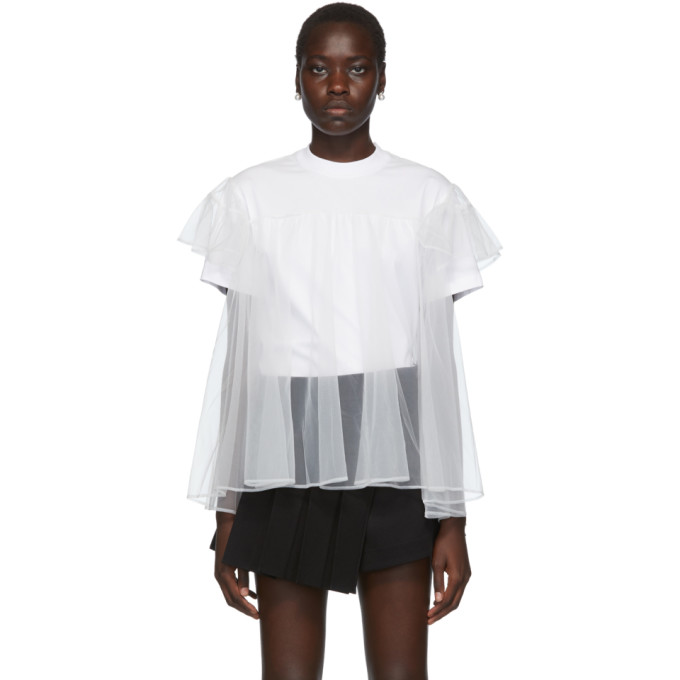 Ssense Exclusive White Tulle Overlay T Shirt by Shushu/Tong