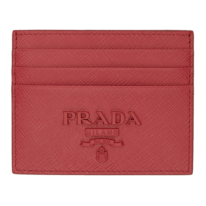 Pink Saffiano Monochrome Card Holder by Prada