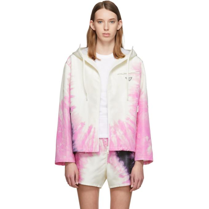 Ssense Exclusive White Silk Tie Dye Jacket by Prada