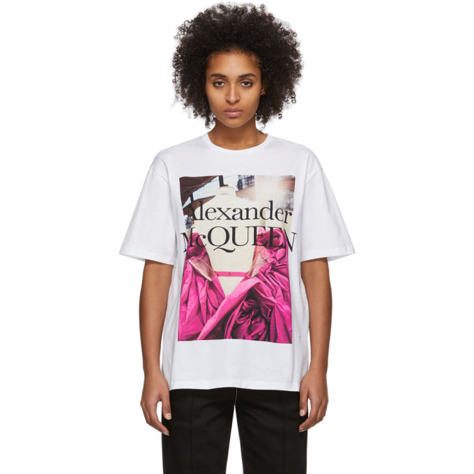 White Pink Rose T Shirt by Alexander Mcqueen