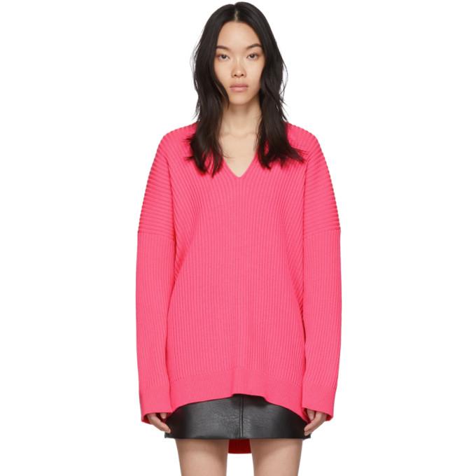 pink-knit-v-neck-sweater by balenciaga