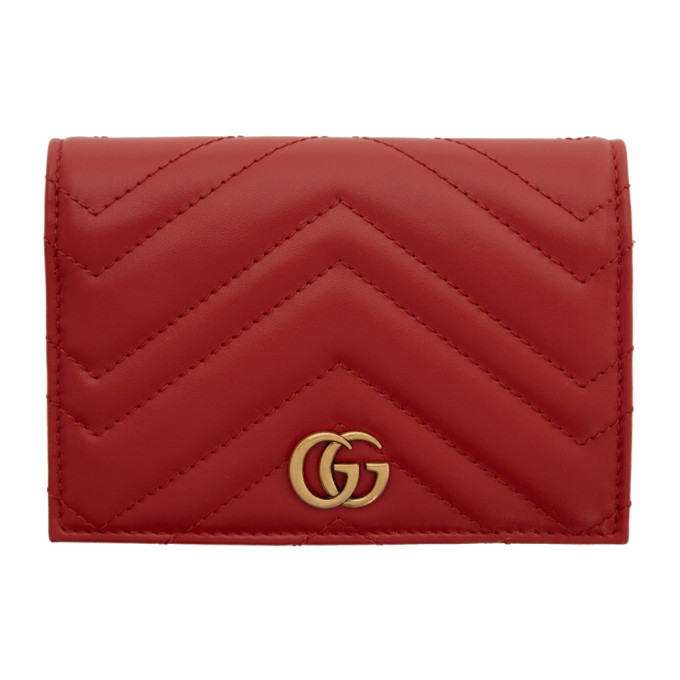 Red Gg Marmont 2.0 Passport Holder by Gucci