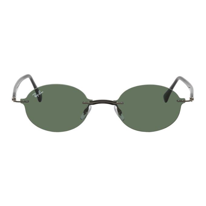 Gunmetal & Green Rimless Round Sunglasses by Ray Ban