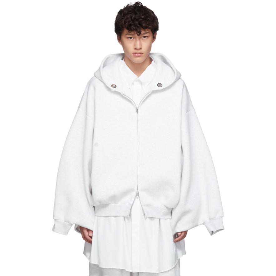 Grey Kimono Zip Hoodie by Fumito Ganryu