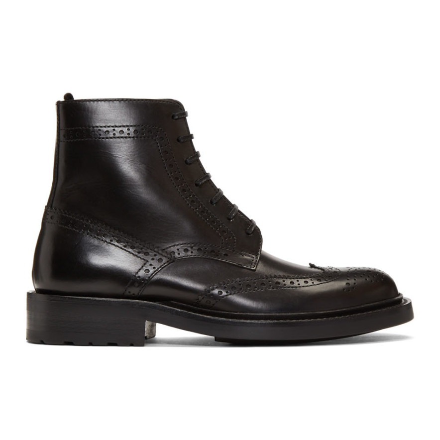 Black Army Brogues Boots by Saint Laurent