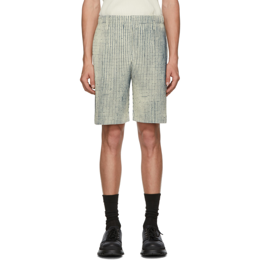 Off White Mc June Network Check Shorts by Homme PlissÉ Issey Miyake