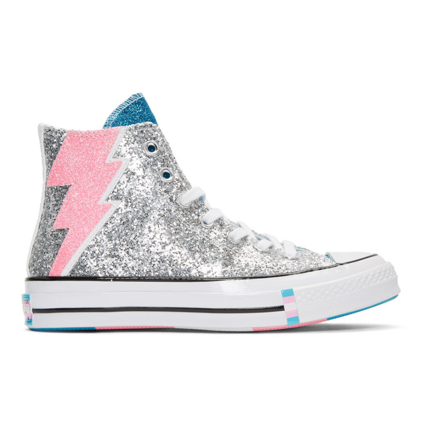 Silver Chuck 70 Pride High Sneakers by Converse