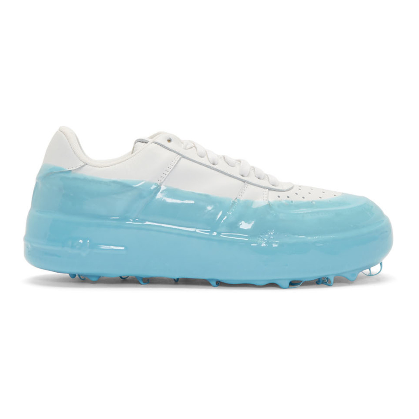Off White & Blue Dipped Sneakers by 424