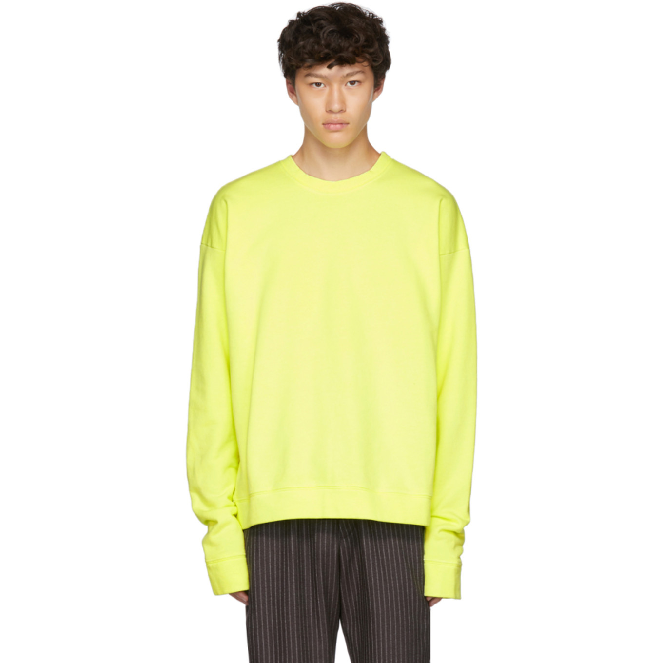 Yellow Dip Dyed Fleece Sweatshirt by The Elder Statesman