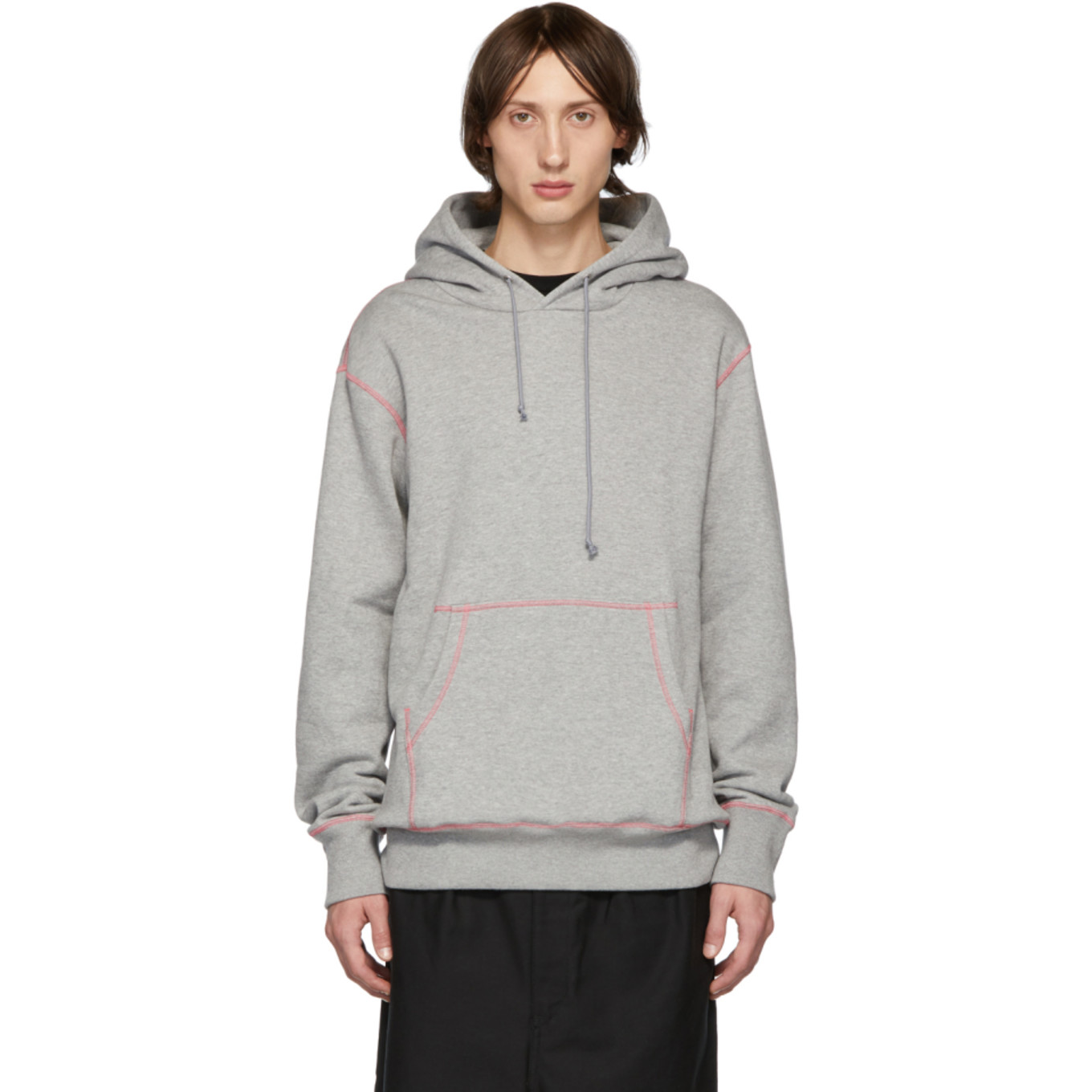 Grey & Pink Seamed Hoodie by Comme Des GarÇons Homme