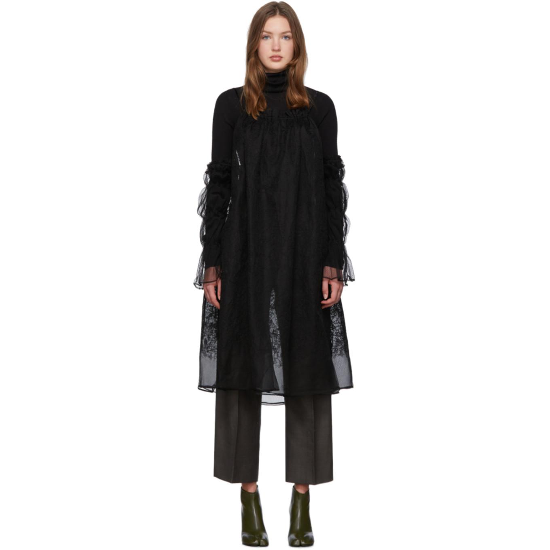 Black Cold Shoulder Dress by Renli Su