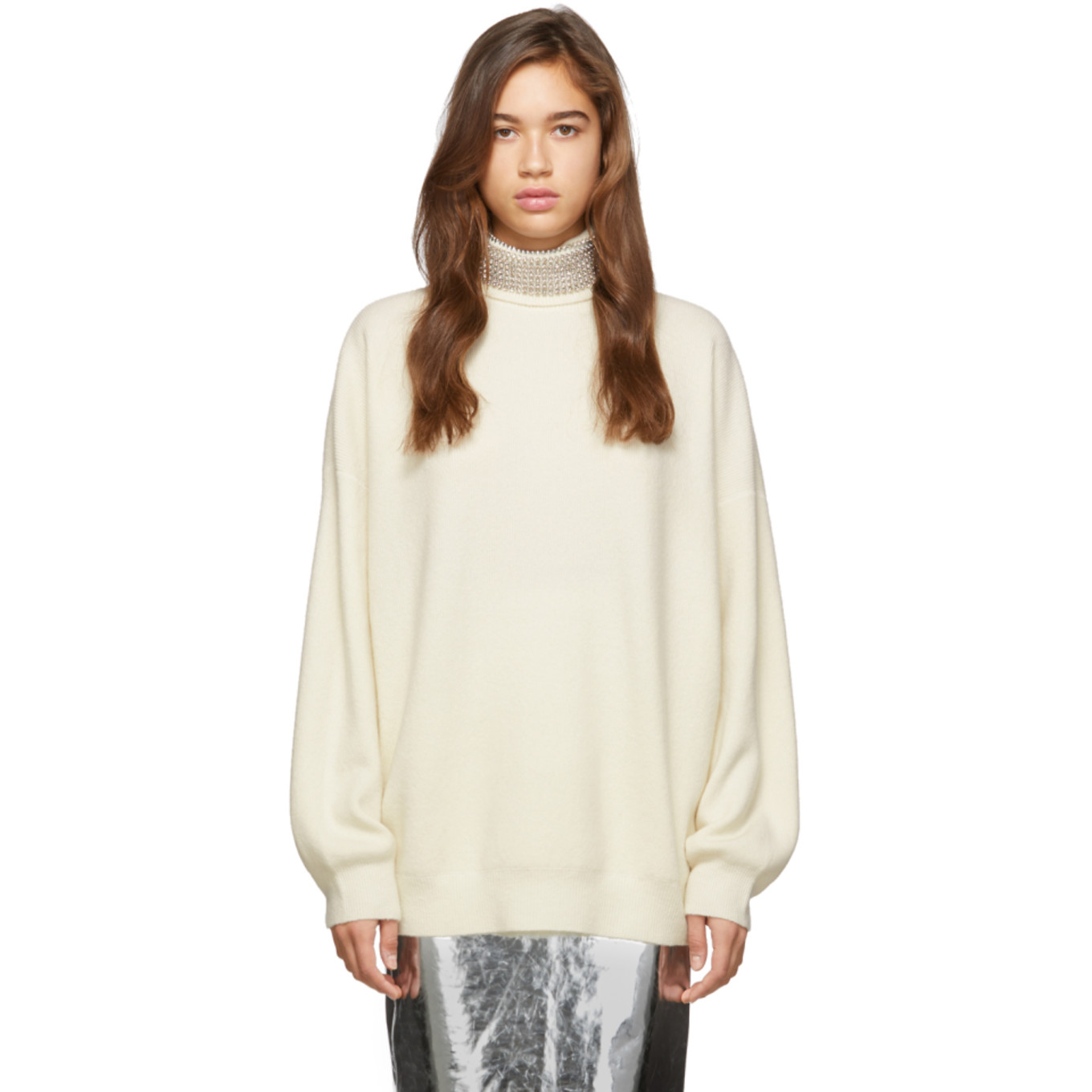 Off White Crystal Turtleneck by Alexander Wang
