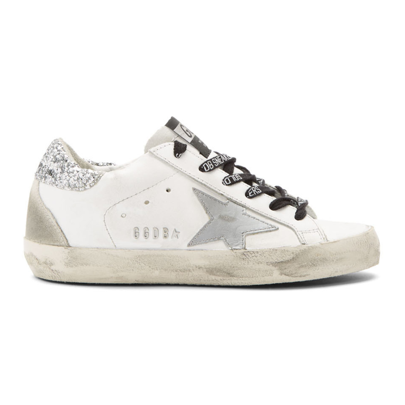 White & Silver Glitter Tab Superstar Sneakers by Golden Goose