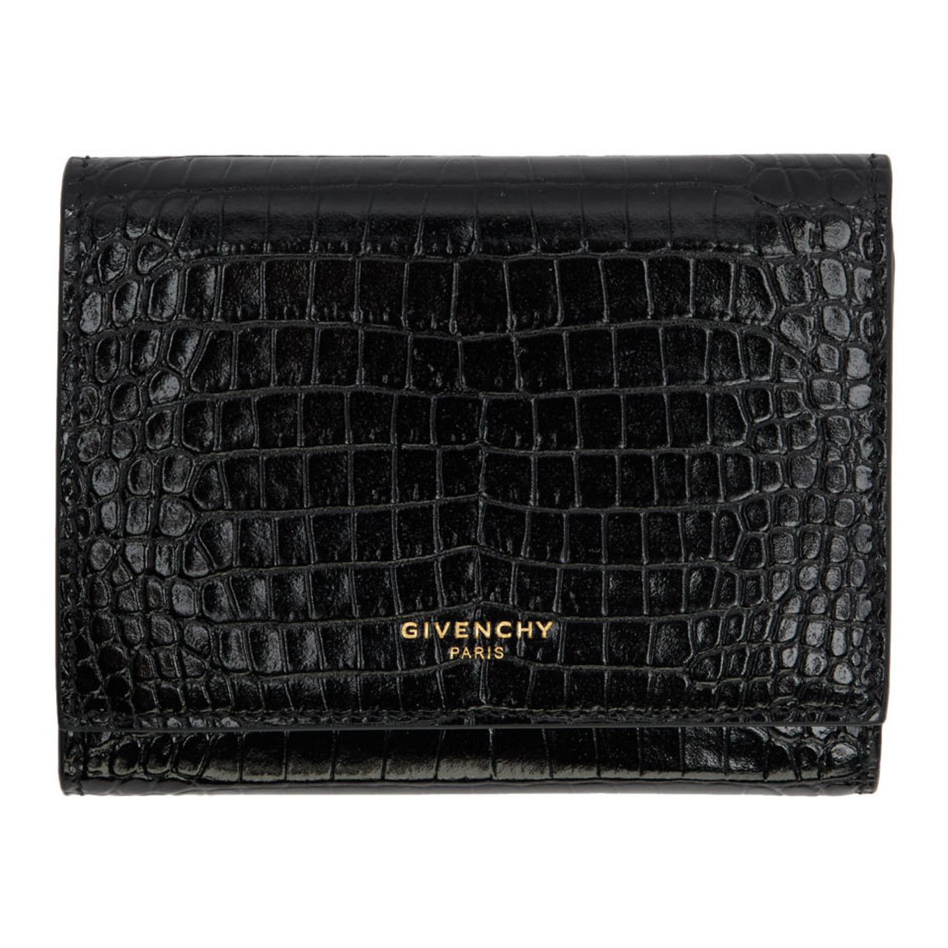 Black Croc Gv3 Trifold Wallet by Givenchy