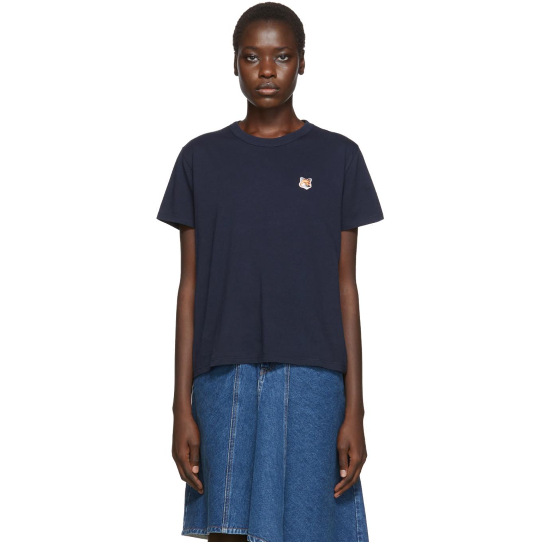 Navy Fox Head T Shirt by Maison KitsunÉ