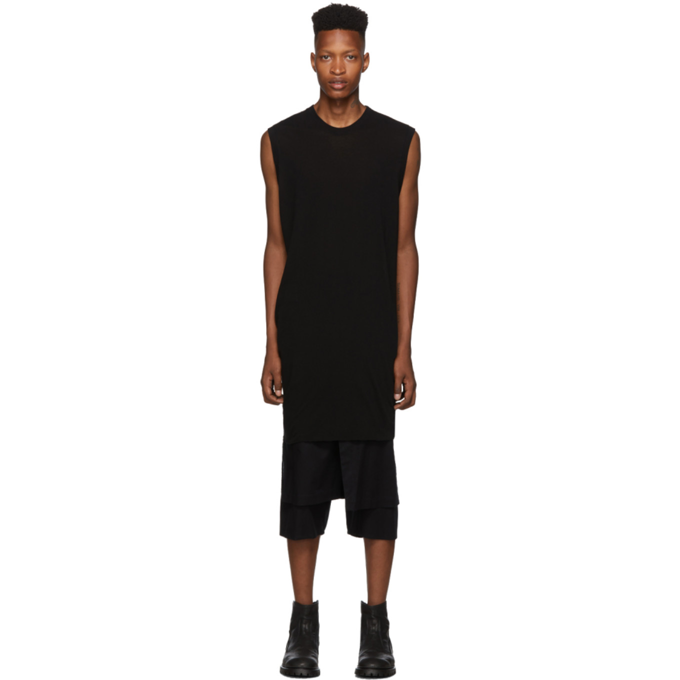 Black Draping No Sleeve Tank Top by Julius