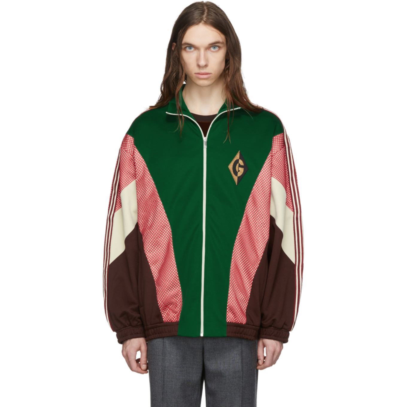 Green G Rhombus Patch Zip Jacket by Gucci