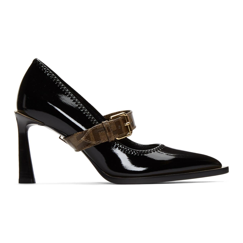Black Glossy Mary Jane Heels by Fendi