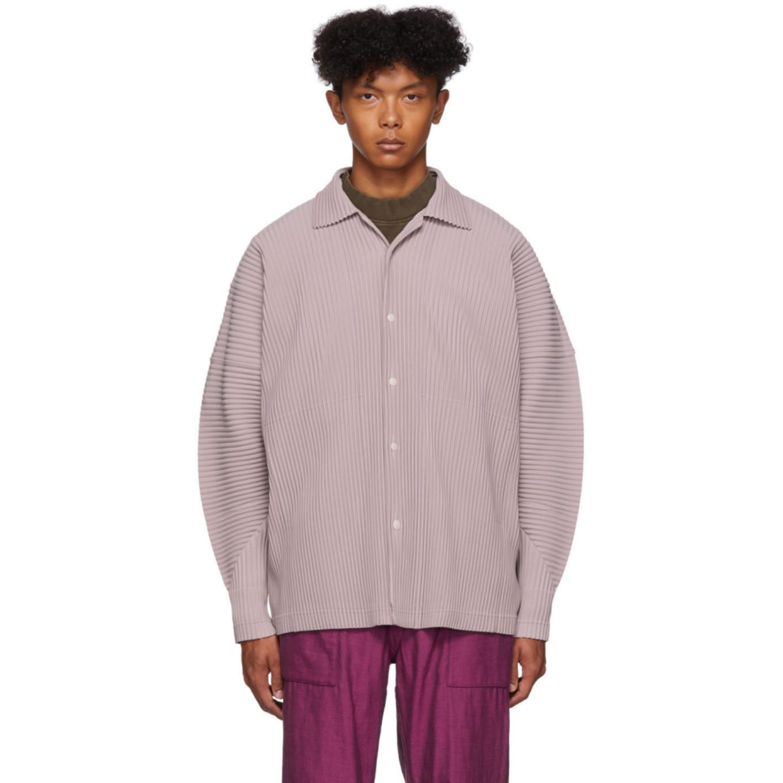 驼色 Pinto Beans 褶裥长袖衬衫 by Homme PlissÉ Issey Miyake
